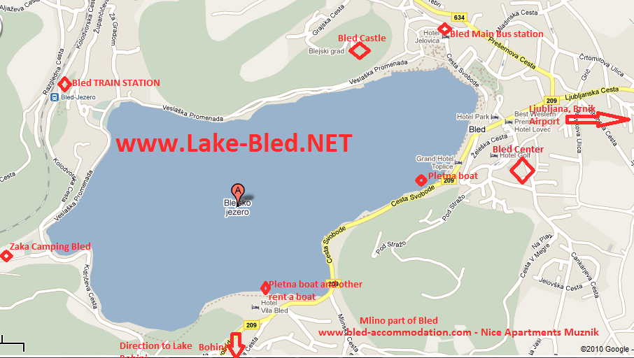 Lake Bled Map Map Of The Lake Bled In Slovenia With Important - Slovenia map download